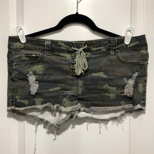 Vintage, distressed camouflage short-shorts